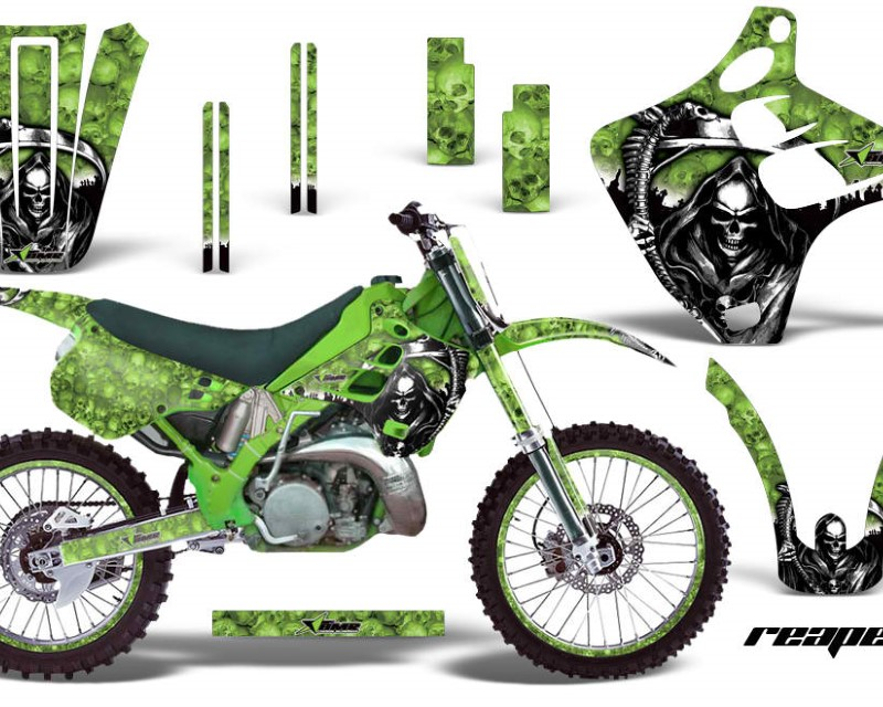AMR Racing Graphics MX-NP-KAW-KX125-KX250-90-91-RP G Kit Decal Wrap + # Plates For Kawasaki KX125 | KX250 1990-1991 REAPER GREEN