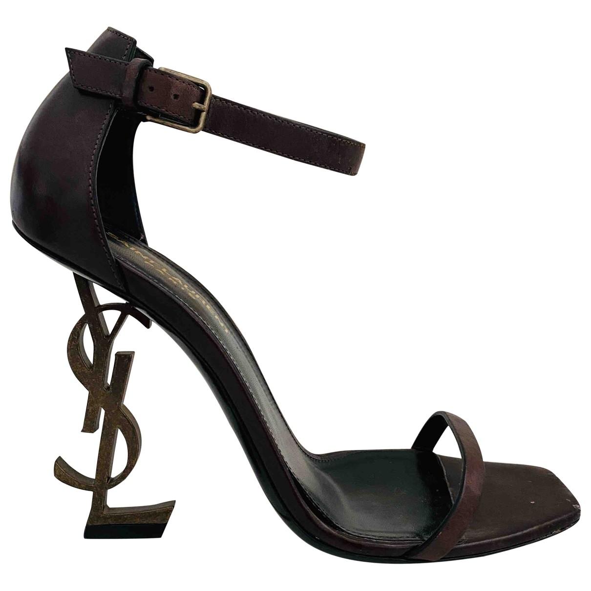 Saint Laurent Opyum Burgundy Leather Heels for Women 38 EU