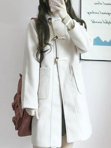 Milanoo Classic Lolita Coats Ecru White Grommets Overcoat Synthetic Winter Lolita Outwears