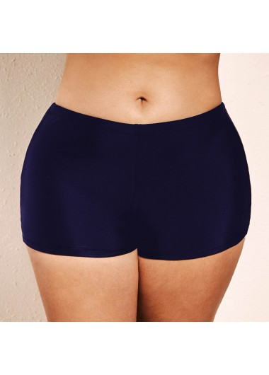 Navy Blue Plus Size Mid Waist Swimwear Shorts - 16W