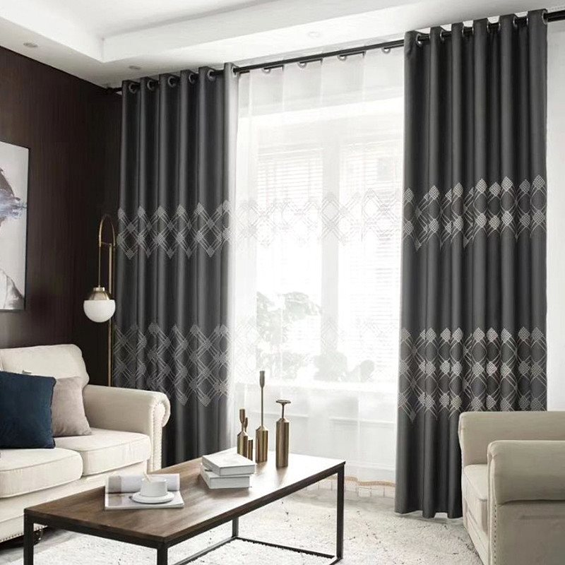 Blackout and Dust-Proof Polyester Modern Style Custom Grommet Curtain for Living Room and Bedroom