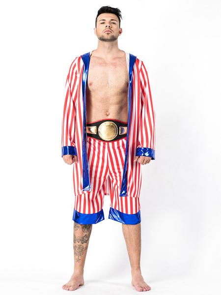 Milanoo 1980s Retro Costumes Men Boxing Robe Star And Stripe Halloween Costume