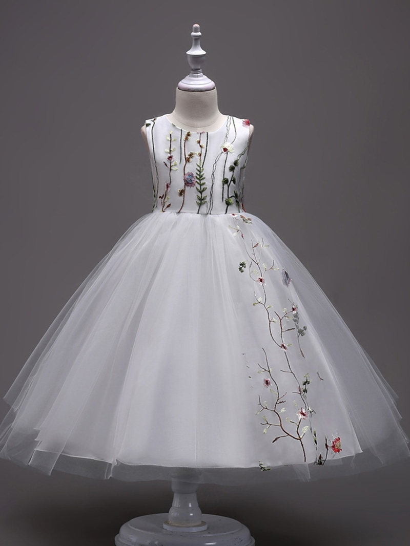 Ericdress Embroidery Mesh Patchwork Ball Gown Girl's Dress