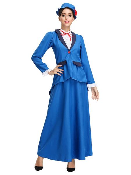 Milanoo Moonight Victorian Nanny Women's Costume Fancy Dress Mary Poppins Style Plus Size