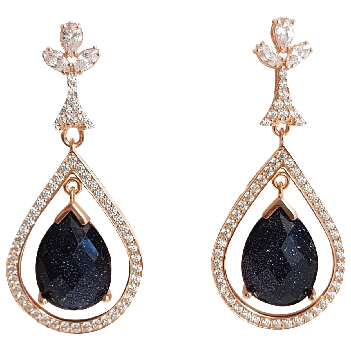 Non Signé / Unsigned \N Black Silver Earrings for Women \N