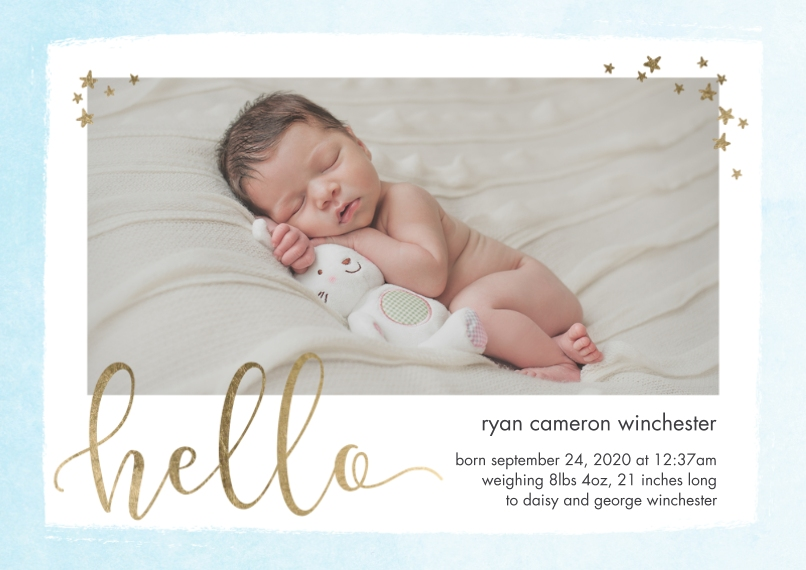 Baby Announcements Flat Matte Photo Paper Cards with Envelopes, 5x7, Card & Stationery -Baby Hello Stars by Tumbalina