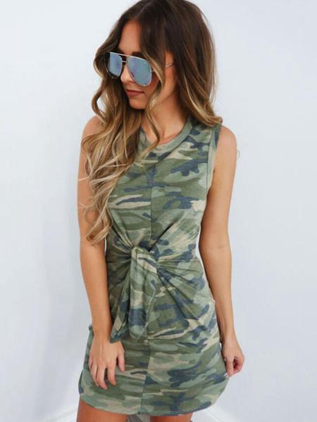 Milanoo Camo Summer Dresses Shaping Mini Dress Sleeveless Knotted Bodycon Dress