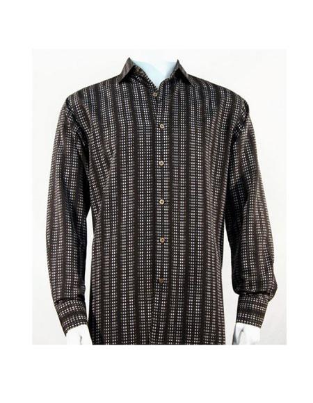 Full Cut Long Sleeve Mini Dots Blue ~ Brown Fashion Shirt