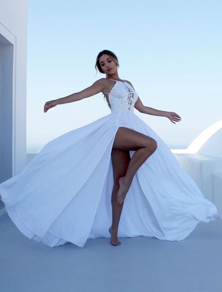 Milanoo White Maxi Dress Backless Women Long Dress Straps Split Party Summer Dress