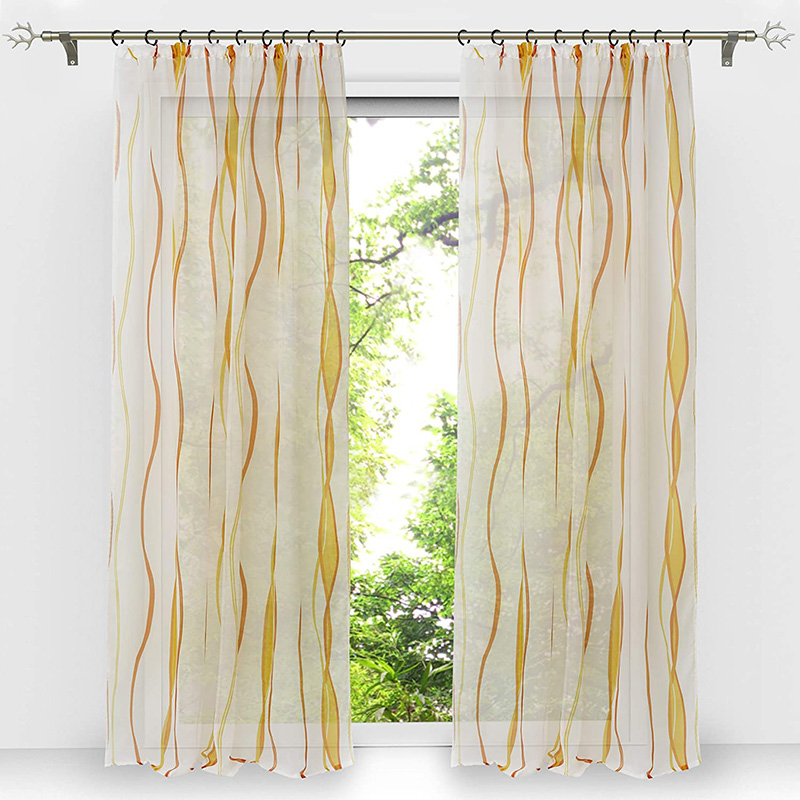 Translucidus Stripe Custom Living Room Sheer Curtains Breathable Voile Drapes No Pilling No Fading No off-lining