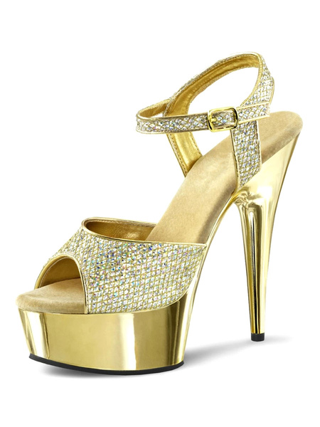Milanoo High Heel Sexy Sandals Blond PU Leather Peep Toe Sequins Cloth Ankle Strap Sandals