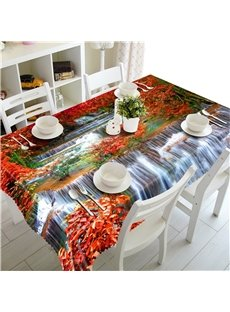 3D Red Leaves and Flowing Waterfalls Printed Home and Hotel Table Cloth
