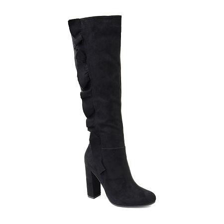 Journee Collection Womens Vivian Block Heel Zip Boots, 8 Medium, Black