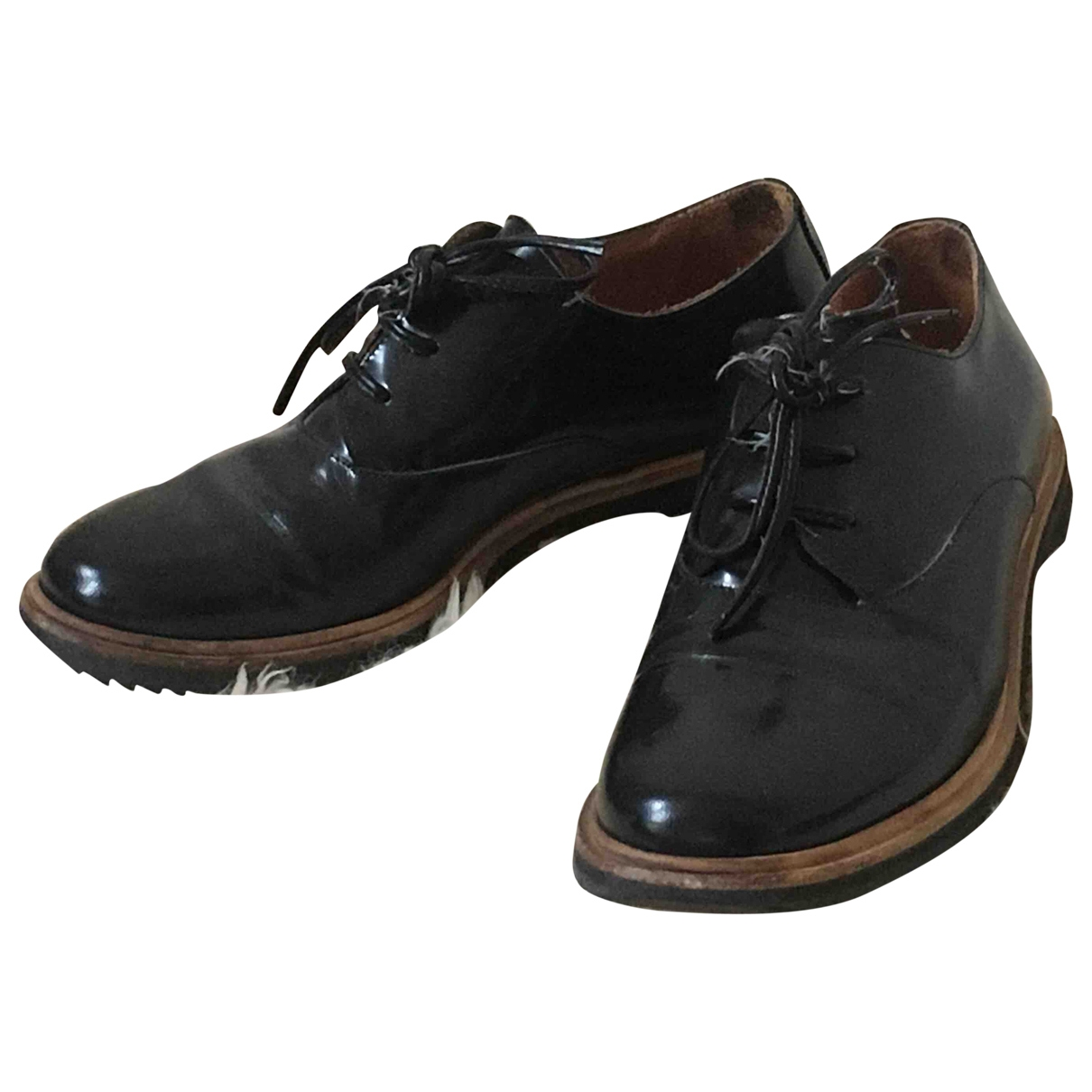 Mm6 \N Black Patent leather Lace ups for Women 36 EU