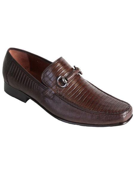 Mens Slip On Loafer Style Genuine Lizard Los Altos Brown Dress Shoes