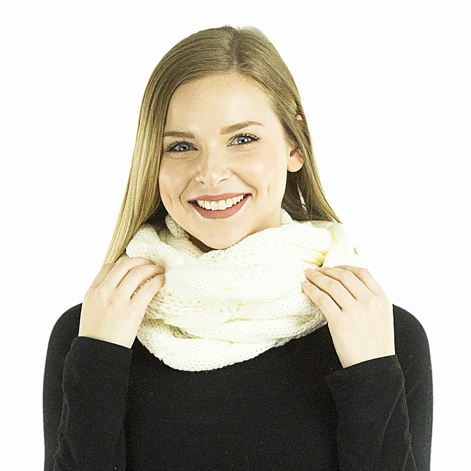 Exotic Identity Infinity Scarf Cable Knit Aspen Infinity Cold Weather Wear for Women - M - Cream