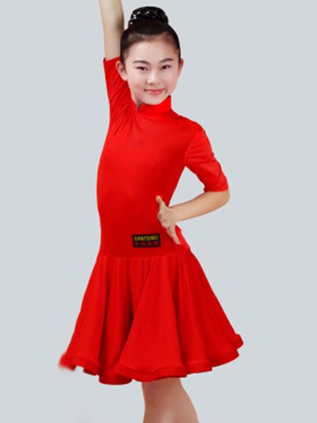 Milanoo Dance Costumes Latin Dancer Dresses Kids Half Sleeve Peachpuff Ballroom Dancing Wears Outfit For Girls Halloween