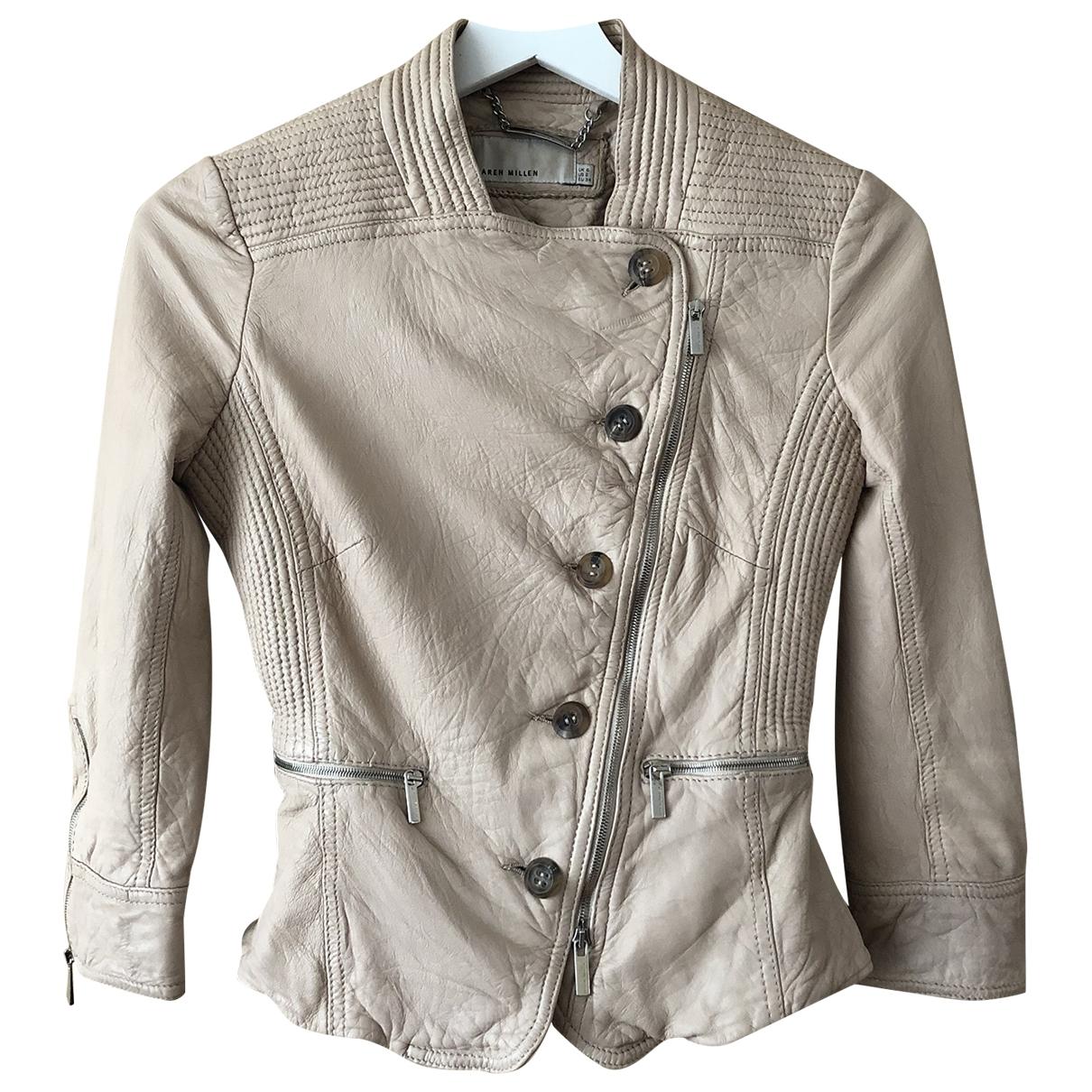 Karen Millen \N Ecru Leather Leather jacket for Women 6 UK