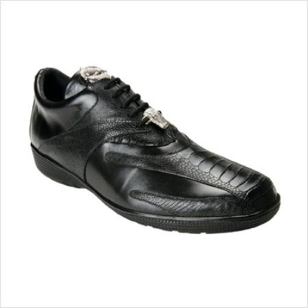 Belvedere Genuine Ostrich and Calfskin / Mens Bene Sneakers in Black
