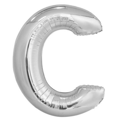 Silver Letter C Shaped Foil Helium Balloon 34