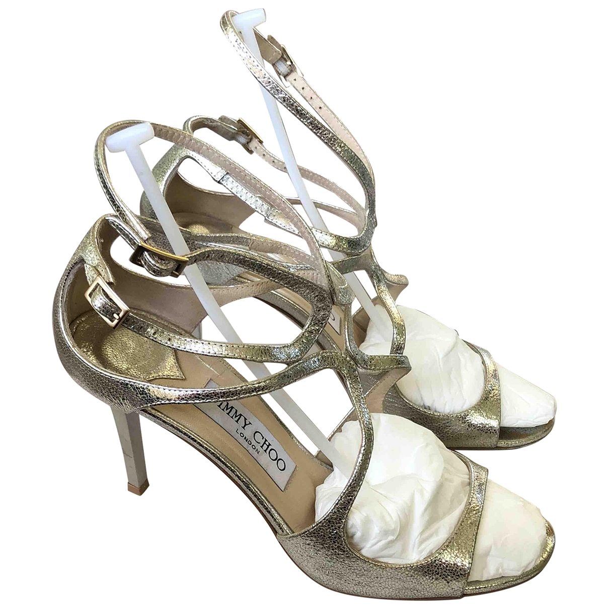 Jimmy Choo Lance Gold Leather Sandals for Women 37.5 EU