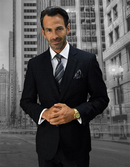 Men's Statement Plaid 2 Button Black Single Breasted Suit