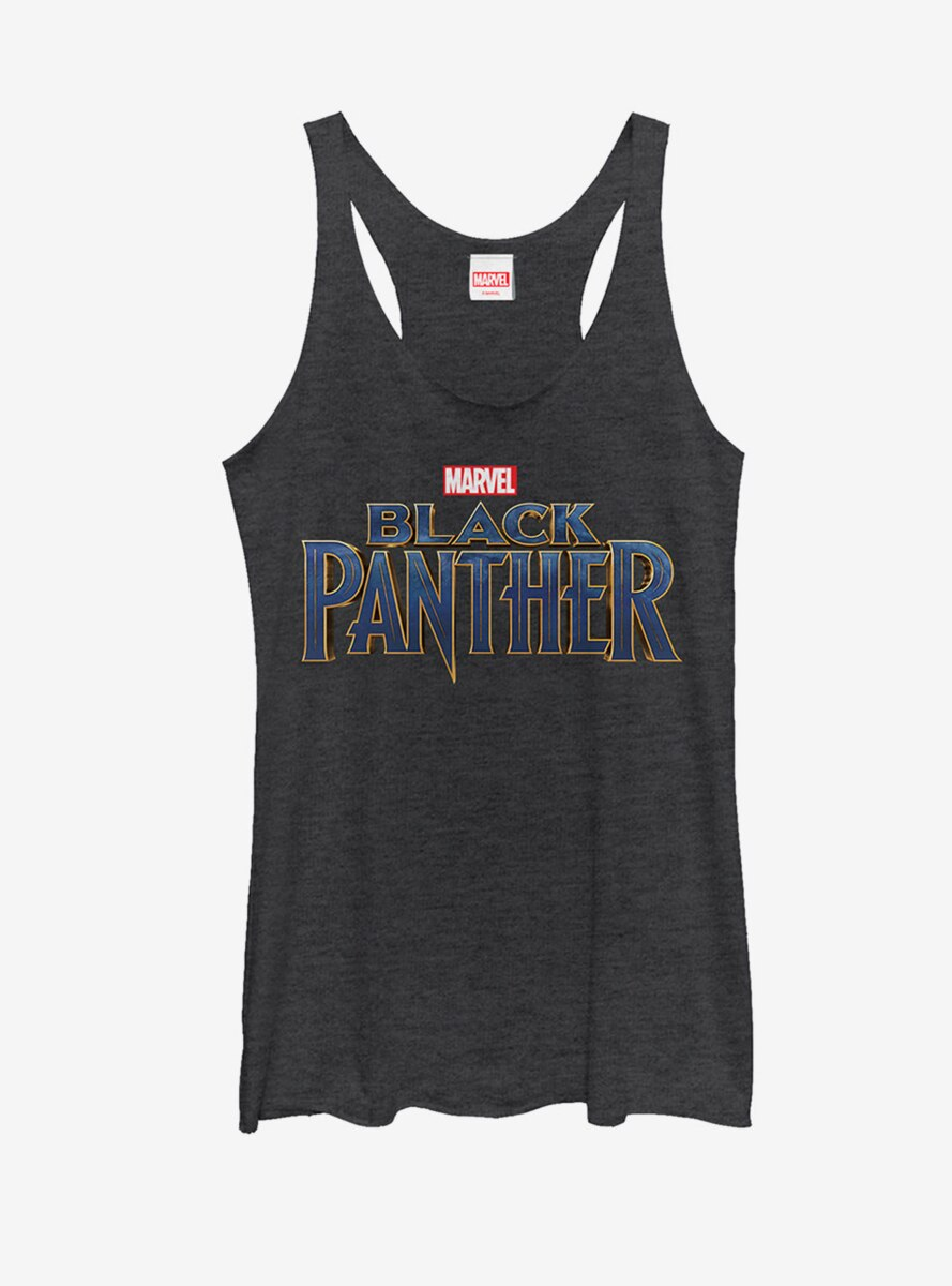 Marvel Black Panther 2018 Text Logo Womens Tank
