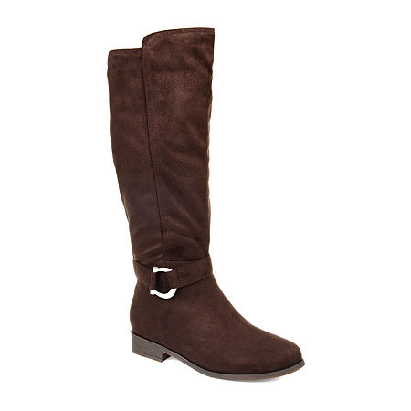 Journee Collection Womens Cate Extra Wide Calf Stacked Heel Zip Riding Boots, 10 Medium, Brown