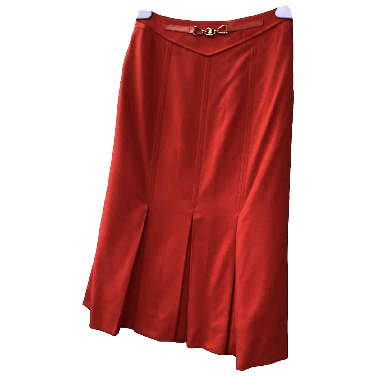 Celine \N Red Wool skirt for Women 42 FR