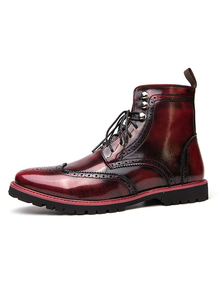 Milanoo Boots For Man Distressed Round Toe Brown Ombre Carved PU Leather Martin Boots