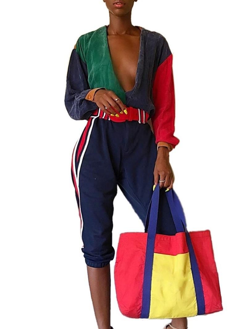 Ericdress Color Block Mid-Calf Loose Jumpsuit