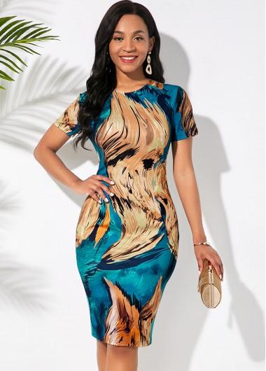 Rosewe Women Abstract Printed Short Sleeve Sheath Cocktail Party Dress Knee Length Sheath Work Elegant Dress - M