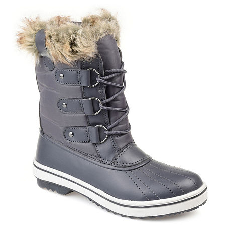 Journee Collection Womens North Water Resistant Block Heel Lace-up Snow Boots, 8 1/2 Medium, Gray