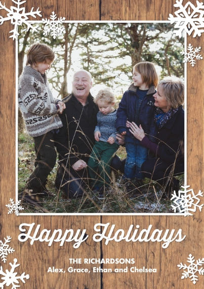 Holiday Photo Cards Flat Matte Photo Paper Cards with Envelopes, 5x7, Card & Stationery -Holiday Rustic Bold Snowflakes