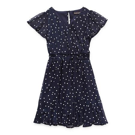 Trixxi Girl Godet Dress Little & Big Girls Short Sleeve Dots A-Line Dress, 14 , Blue