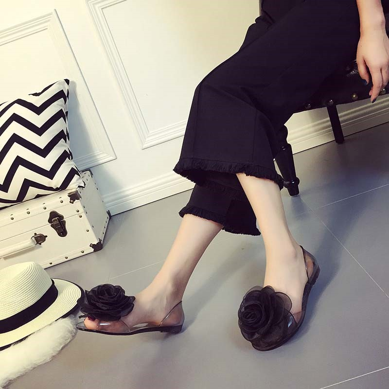 Ericdress PVC Peep Toe Slip-On Block Heel Women's Jelly Shoes