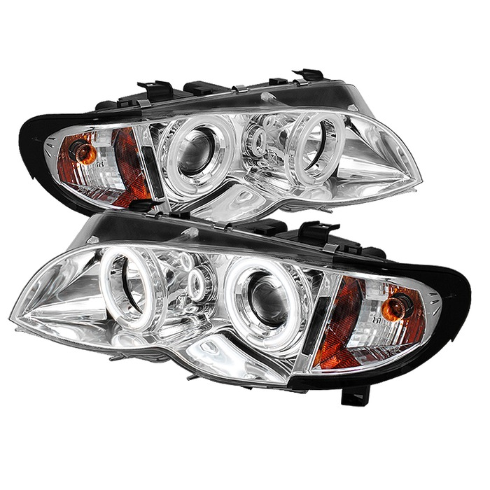 Spyder Auto PRO-YD-BMWE4602-4D-AM-CCFL-C 1PC Chrome CCFL Halo Projector Headlights with High H1 and Low H7 Lights Included BMW E46 330i 4Dr 02-05