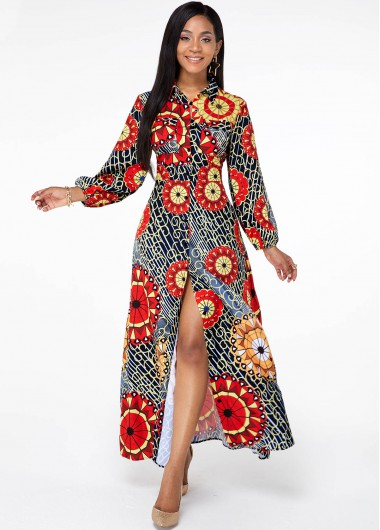 Cocktail Party Dress Front Slit Long Sleeve Tribal Print Dress - M