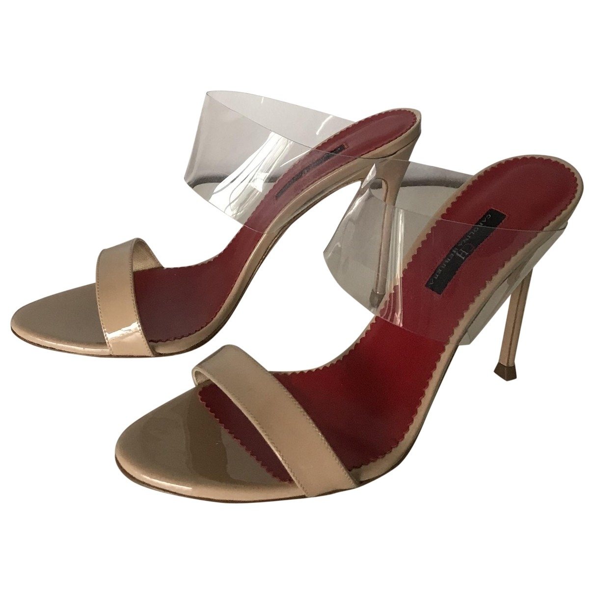 Carolina Herrera \N Ecru Leather Heels for Women 38 EU