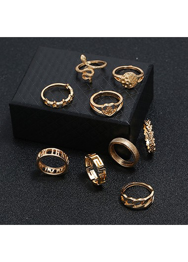 Mother's Day Gifts Gold Metal 9pcs Various Shape Rings - One Size