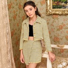 Girls Frayed Trim Button Front Tweed Jacket and Asymmetrical Skirt Set