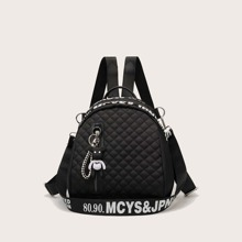 Letter Graphic Quilted Backpack