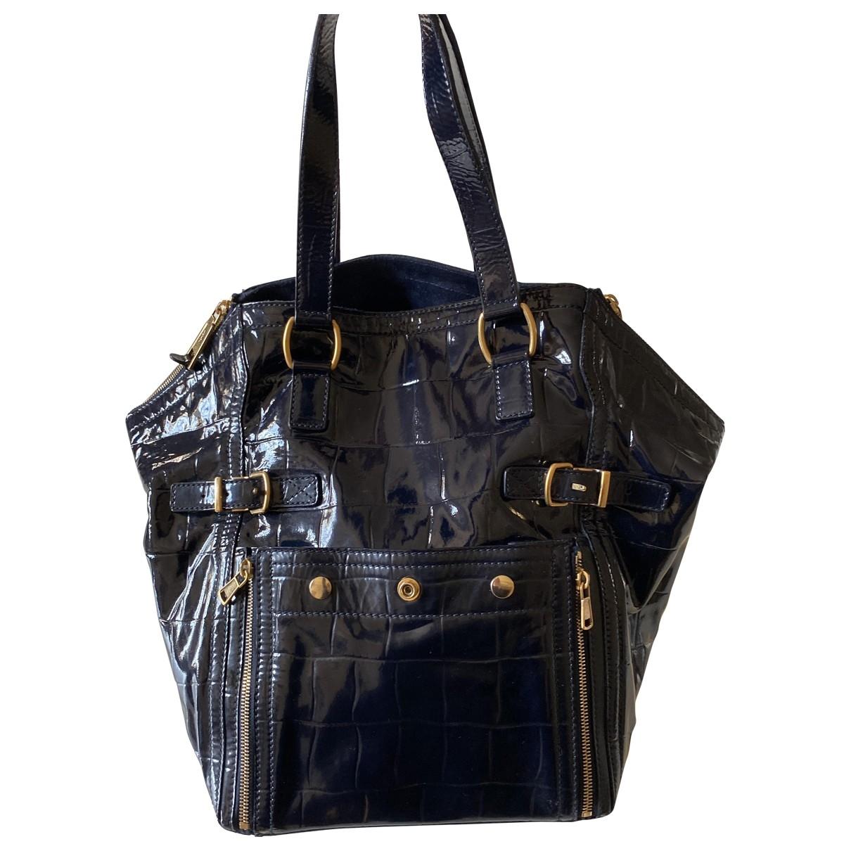 Yves Saint Laurent Downtown Blue Leather handbag for Women \N