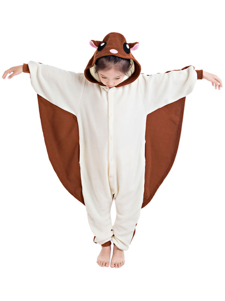 Milanoo Kids Kigurumi Pajamas Fflying Squirrel Flannel Unisey Easy Toilet Winter Sleepwear Mascot Animal Halloween Costume