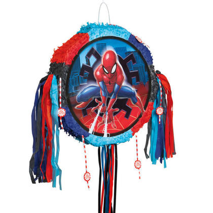 Spider-Man 1 Drum Pull Pop-Out Piñata For Birthday Party