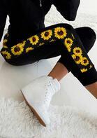 Sunflower Splicing Sports Leggings - Black