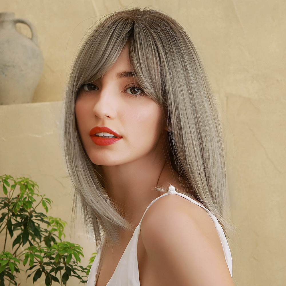 Natural Straight Capless Women Synthetic Hair 130% 14 Inches Wigs Heat Resistant Natural Looking Daily Party Wigs Cosplay Wigs with Natural Bangs with