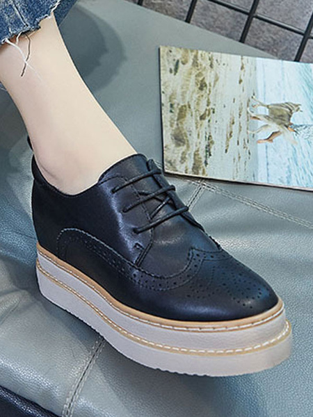 Milanoo Trendy Oxfords Chic Round Toe PU Leather