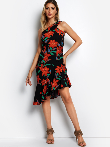 Yoins Black Random Floral Print Slanted One Shoulder Sleeveless Dress