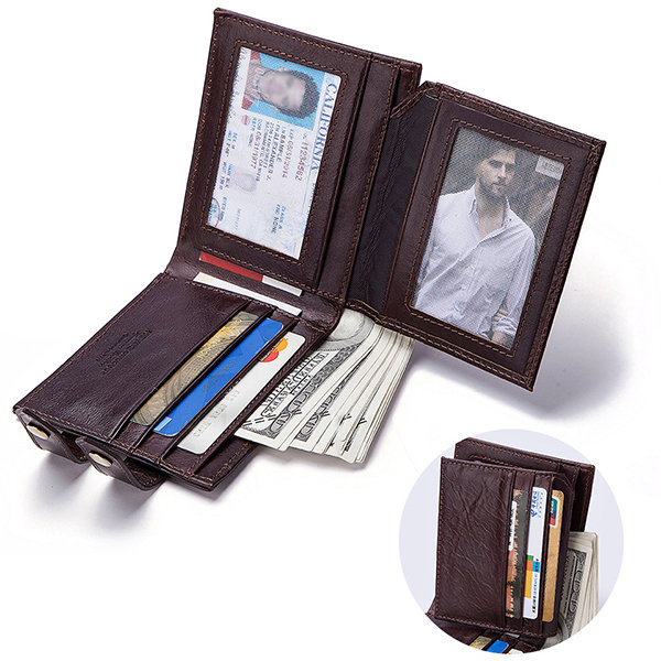 Men Genuine Leather Multi-Functional Double Clasp Individual Fashion Wallet